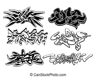 Graffiti elements set - Set of 6 graffiti sketches isolated...