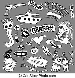 Graffiti elements, urban art illustration