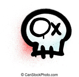 Graffiti emoji skull sprayed in black blue red on white