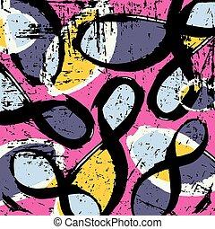 graffiti, färgad, geometriskt, objekt, vektor, illustration