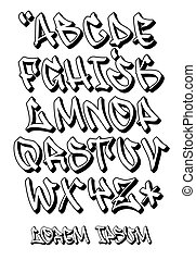 Graffiti font 3D- Hand written - Vector alphabet