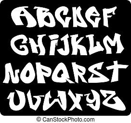 Graffiti font alphabet, abc letters