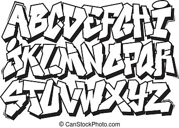 graffiti font alphabet - Classic street art graffiti font...