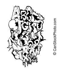 Graffiti font alphabet letters. Hip hop grafitti design