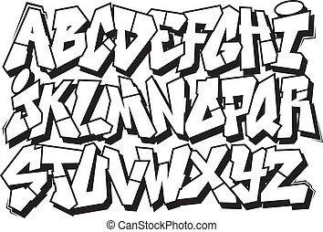 graffiti, fonte, alfabeto