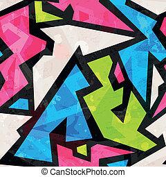 graffiti geometric seamless pattern with grunge effect