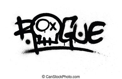 graffiti, gesprüht, gauner, etikett, in, schwarz, aus, weißes