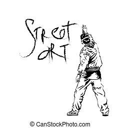 Graffiti guy makes street art on wall.