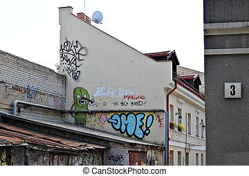 Graffiti in a street of Vilnius , Lithuania.
