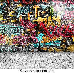 graffiti, ligado, parede
