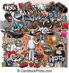 graffiti, miejski, sztuka, elementy