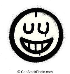 graffiti mocking icon with closed eyes