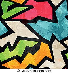 graffiti mosaic seamless pattern with grunge effect