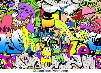 graffiti, mur, art, arrière-plan., hip-hop, style, seamless, texture, modèle