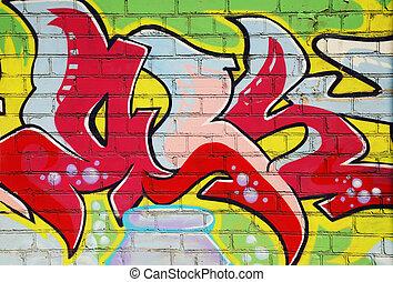 graffiti, mur, brique
