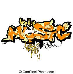 Graffiti music background, urban art