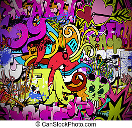 graffiti, muur, kunst, achtergrond., heup-hop, stijl, seamless, textuur, model