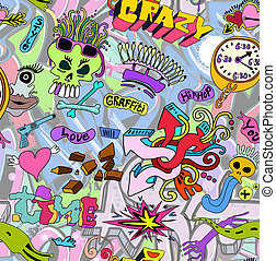 graffiti, muur, kunst, achtergrond., seamless, textuur, stedelijke , stijl