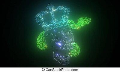 graffiti., nuit, couronne, néon, signe., tatouage,...