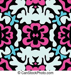 Graffiti on a black background Psychedelic seamless geometric pattern