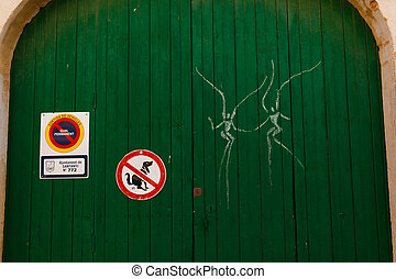 Graffiti on a gate in Santanyi, Mallorca