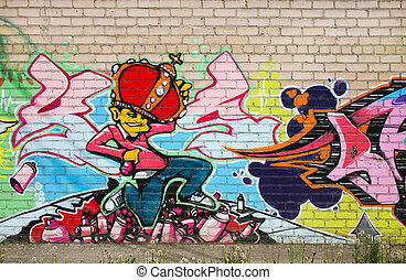 graffiti on brick wall - graffiti colour drawing on brick...