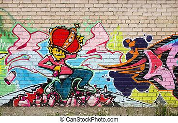 graffiti on brick wall - graffiti colour drawing on brick...
