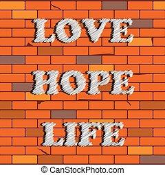 Graffiti on the Brick Wall Backgrou
