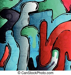 Graffiti on the shabby wall of bright paint