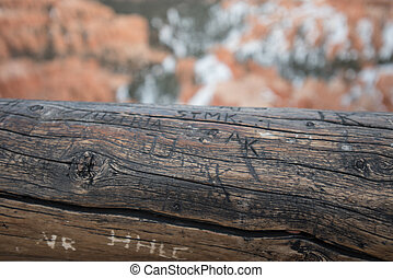 Graffiti on Worn Log