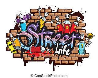 graffiti, ord, komposition, tecken