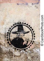 graffiti painted brick wall symbol background