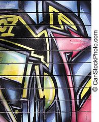 Graffiti painted garage door
