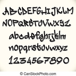 graffiti, police, lettres, abc, alphabet