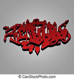Graffiti - red and black wild style - Hand drawn graffiti,...