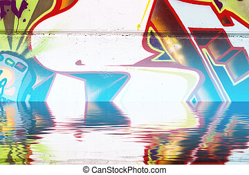 Graffiti reflection in the water, blue draw