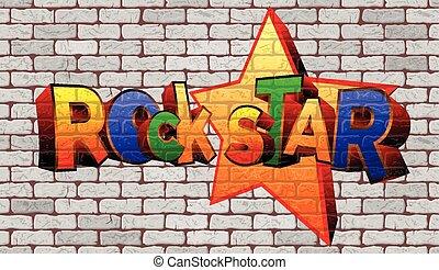 Graffiti rock star on the wall