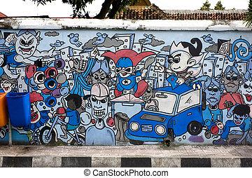 graffiti, rue, yogyakarta, indonésie