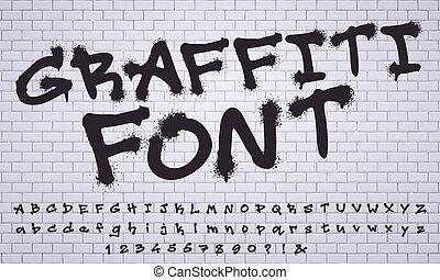 graffiti, sale, font., nombres, vecteur, étiquetage, mur,...