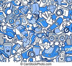 graffiti, seamless, padrão, com, linha, ícones, colagem