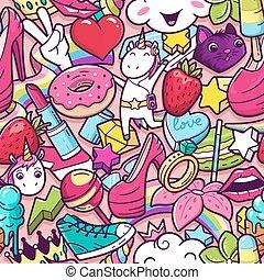 graffiti, seamless, padrão, com, moça, doodles