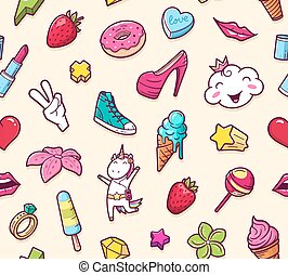 Graffiti seamless pattern with girlish doodles