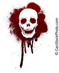 Graffiti skull pattern - Retro cartoon illustration. On...
