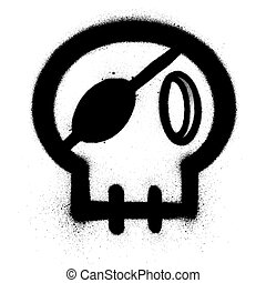 graffiti skull with an eye patch sprayed in black over white