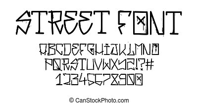 graffiti, skuwka, chrzcielnica, ulica, alfabet