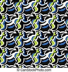 Graffiti small psychedelic seamless pattern vector illustration
