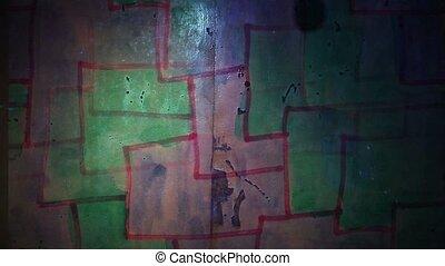 graffiti square mesh avant-garde art night light moves along...