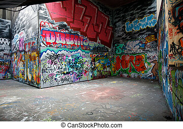 Graffiti - Walls painted with colorful graffiti