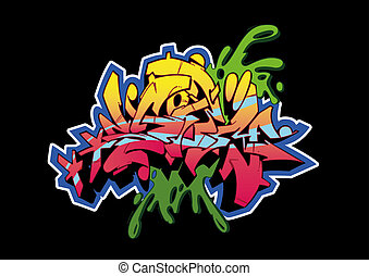 Graffiti Storm Black - Graffiti sketch, word STORM, isolated...