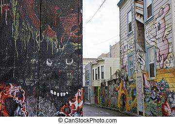 Graffiti street art - Street art at the in San Francisco...